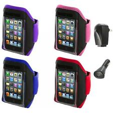 Gym Sports Armband Case Cover+2X Chargers for iPod Touch 4th 3rd 2nd Gen 4G 3G