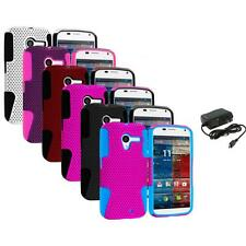 For Motorola Moto X Hybrid Mesh Rugged Hard/Soft Case Skin Cover+Wall Charger