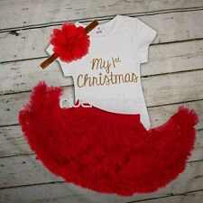 My First Christmas Newborn Girl Romper Bodysuit Sequined Tutu Fancy Outfit Dress