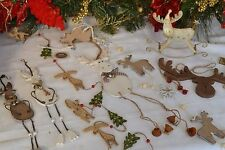 Rustic Shabby Chic wooden Reindeer Rudolph Christmas tree decorations