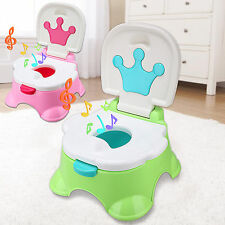 3 in 1 Kids Baby Training Toilet Toddler Potty Trainer Chair Seat Green Pink