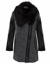 Womens Fur Zipped Collar Coat Faux Contrast Quilted Leather Black Sizes UK 8-16