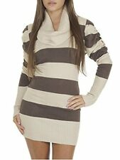 Ladies Winter Warm Long Sleeve Cowl Neck Striped Knitted Jumper Dress Size 8-12