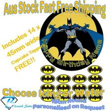 Batman DC 19cm Cake + 14x 45mm Cupcake Toppers Edible Icing or Wafer Precut