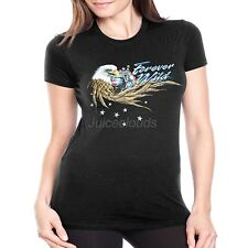 Biker Fitted Shirt Forever Wild Eagle Wings JUNIORS