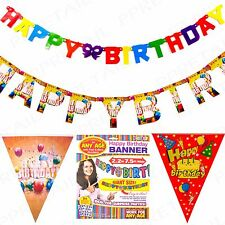 LONG HAPPY BIRTHDAY BANNERS BUNTINGS Large Coloured Party Celebration Decoration