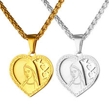 Love Heart Pendant Stainless Steel Virgin Mary Necklace Christian Jewelry Gift