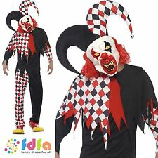 "BLACK & RED CRAZED JESTER HALLOWEEN + MASK Chest 38-44"" Mens Fancy Dress Costume"