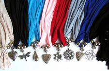 Jewelry Scarf Beaded Fringe Assorted Colors Silver Pendant Charms BOGO 50% OFF