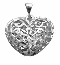 """Sterling Silver Filigree Puff Large Heart Charm Necklace 18"""" 20"""" Snake Chain NEW"""