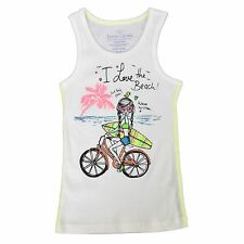 Faded Glory Girls Graphic White Ribbed Tank Top Shirt I Love The Beach 4 5 6 6X