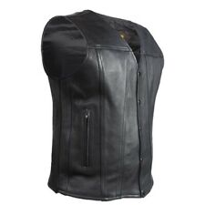 MENS MOTORCYCLE NAKED COWHIDE LEATHER VEST w/ DUAL CONCEALED GUN POCKETS - DC2