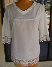 PRETTY ANGEL Boho Style Embroidered & Bling Trim Blouse Sz. M, L