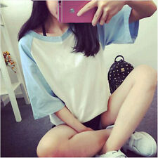 Fashion Women Girl College Wind Bottom loose Student Short-Sleeved T-shirt Tops