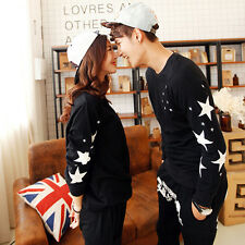 Fashion Men Women Youth Couple Valentine's Stars Print Long Sleeve T-shirt Tees