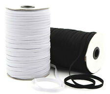 ELASTIC 10 CORD FLAT, 8MM WIDE, AVAILABLE IN BLACK OR WHITE & DIFFERENT LENGTHS