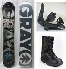 """NEW GRAY """"SHRED"""" SNOWBOARD, BINDINGS, BOOTS PACKAGE - 153cm"""
