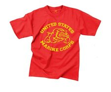 US Marine Corps BULLDOG RED T-Shirt Licensed USMC Scarlet and Gold Vintage S-3X