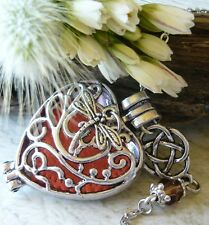 Outlander Celtic Knot Dragonfly Amber Inspired Oil Diffuser Necklace Locket Cage