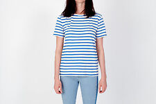 NWT T BY ALEXANDER WANG White Blue Striped Linen Cotton Tee T Shirt Size M $130