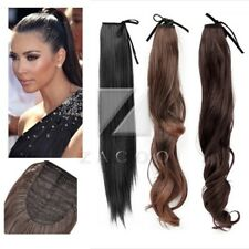 Synthetic Fiber Wrap Round Pony Tail Extension Straight Curly Human Hair Piece