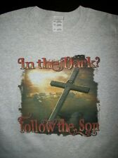 Religious T Shirt In The Dark Follow The Son Bible Jesus Cross Christian God