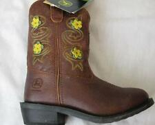 JOHN DEERE girls brown floral flower leather wellington cowboy cowgirl boots NEW