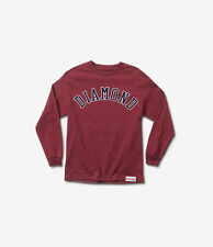 Diamond Supply CO Diamond Arch Mens Crew Neck Long Sleeve T Shirt Burgundy Red