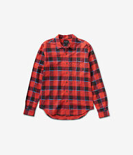 Diamond Supply CO Mens Holiday Flannel Plaid Long Sleeve Shirt Red