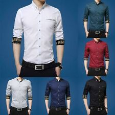 Fashion Mens Casual Shirt Slim Fit Stylish Dress Shirts Short Sleeve Men's Tops