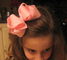 Lt Pink Double Layered Hair Bow Baby Girls Toddler Clip
