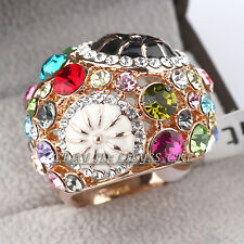 Fashion Flower Rhinestone Party Cocktail Ring 18KGP CZ Crystal Size 5.5,6,9