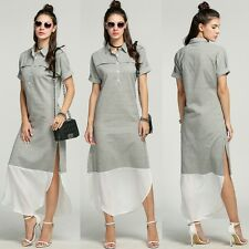 Fashion New Women Lapel Batwing Sleeve Side Slit Maxi Long Striped Shirt Dress
