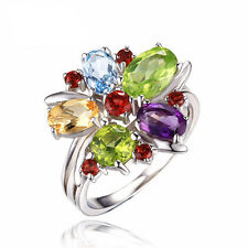 Lovely3.1ct Natural Amethyst Garnet Blue Topaz Cocktail Ring 925 Sterling Silver