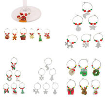 Set of 6 Christmas Xmas Red and Green Beads Wine Glass Charms Hoops Table Marker