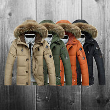 Mens Warm Fur Collar Hooded Parka Thick Down Coat Outwear Down Winter Jacket Hot
