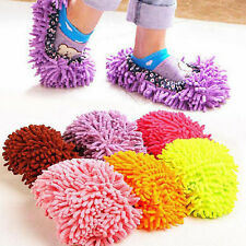 Multi-Function Chenille Fibre Washable Dust Mop Slippers Cleaning Shoes x2