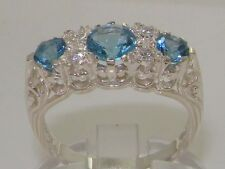 High Quality Blue Topaz & Diamond Solid 9ct White Gold Ladies Ring