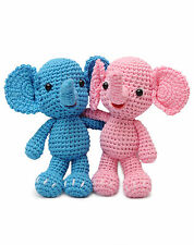 Blue;Pink Elephant Handmade Amigurumi Stuffed Toy Knit Crochet Doll VAC
