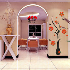 Mirror 3D Art Removable Wall Stickers Flowers Vase Livingroom Home Decoration