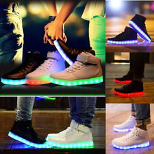 New Unisex Mens Womens USB LED Lights Sneakers Shoes Luminous Sportswear Lace Up
