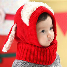 Winter Baby Girl Boy Warm Dog Knitted Crochet Hooded Hat Cap Beanie Scarf BE