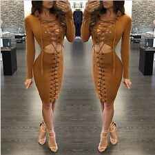 NEW Fashion Women Bandage Bodycon Evening Party Cocktail Club Lace Up Mini Dress