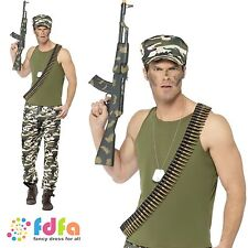 """ECONOMY ARMY SOLDIER WARTIME ADULT Chest 34""""-48"""" Mens Fancy Dress Costume"""