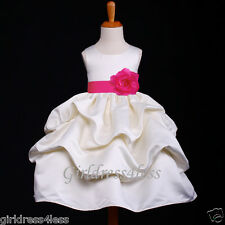 IVORY/FUCHSIA HOT PINK PICK UP WEDDING FLOWER GIRL DRESS 12M 18M 2 4 6 8 10 12