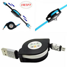 1M Retractable Micro USB A to USB 2.0 B Male Cable Data Sync Charger Cable Cord