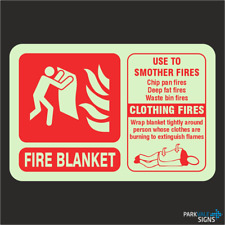Photoluminescent Fire Blanket Fire Extinguisher ID Sign