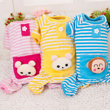 Pet Puppy Dog Winter Warm Stripes pajamas Coat Clothes Clothing Outfit