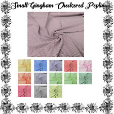 Mini  Gingham Checkered Poplin Polyester Fabric by the Yard