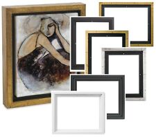 "Floater Frame 3/4"" 7/8"" 1.5"" Deep PICTURE PAINTING ART GOLD SILVER WOOD FRAME"